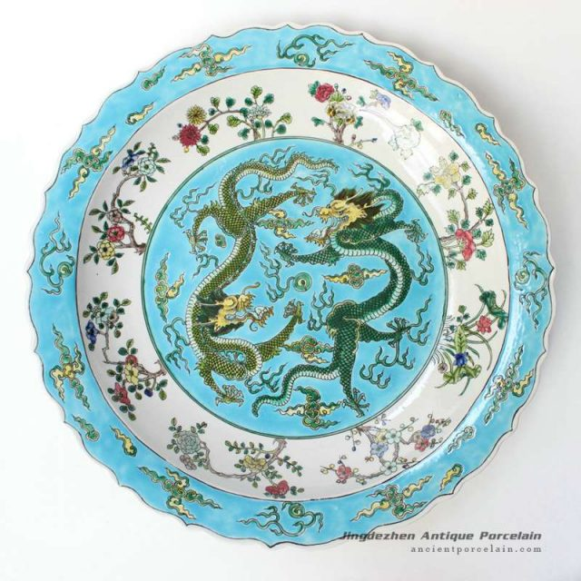 RYQQ40_ 17.5inch Dragon design Porcelain Plate