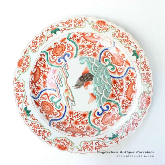 RYQQ41_17.5inch Sea and Fish design Chinese Porcelain Plate