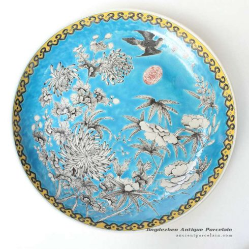 RYQQ42_17inch Flower bird design Chinese Porcelain Charger