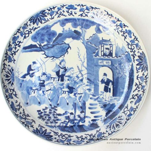 RYQQ45_17inch Blue and white Qing dynasty reproduction Charger