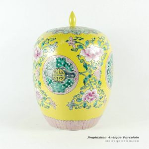 RYQQ51_Hand painted famille rose porcelain melon Jar with floral design