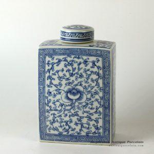 RYQQ52_Ceramic blue white jars floral design