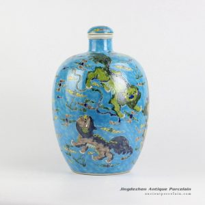 RYQQ54_blue ground famille rose hand paint Chinese fancy lions playing with silk ball pattern ceramic vase with lid