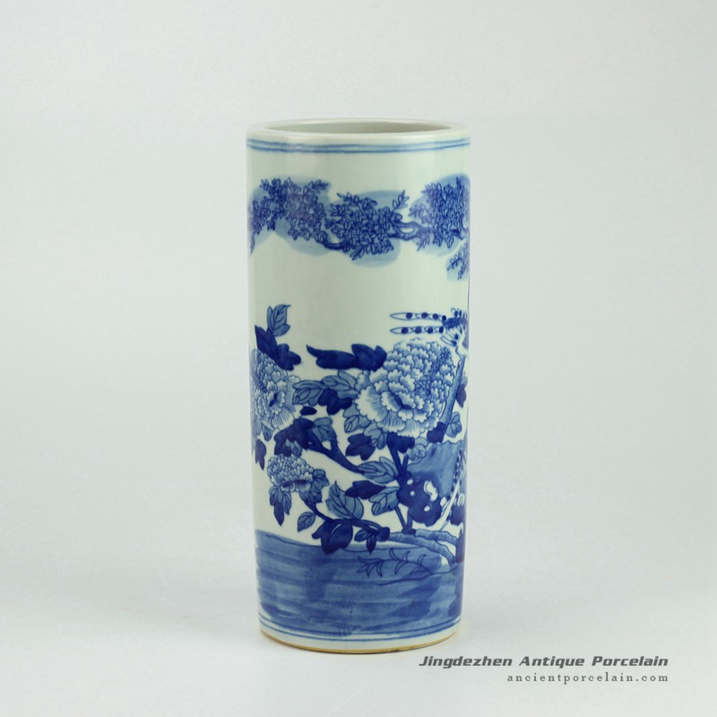 RYWD14_Blue and white straight slim tube shaped hand paint bird floral pattern chinaware quvier pen container