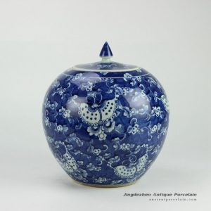 RYWD16_Blue and white hand painted butterfly herbal pattern round belly candle jar