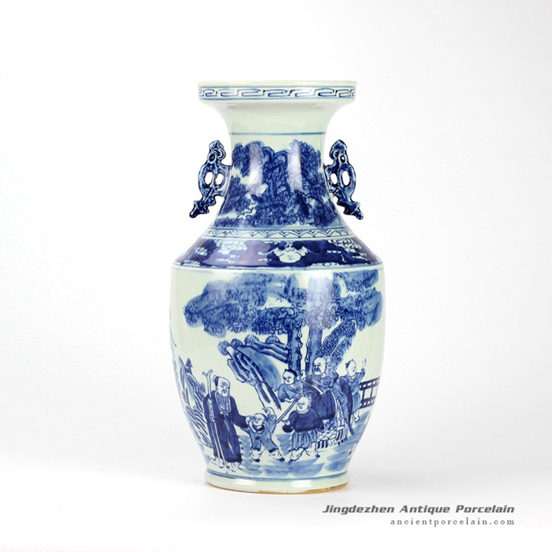 RYWD19_hand paint ancient Chinese people pattern blue white ceramic two handle vase