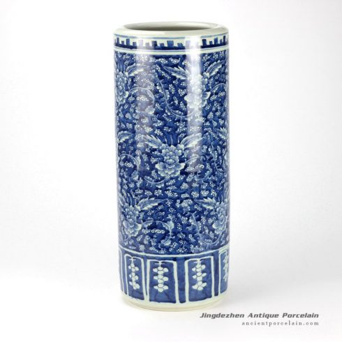 RYWD20_delicate hand paint blue white ceramic umbrella stand