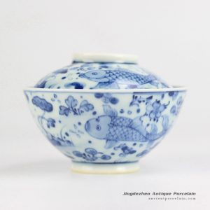 RYWD21-B_Hand paint fish pattern noodle bowl with bowl lid