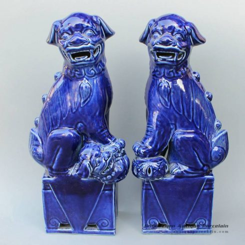 RYXZ01_17.5 inch Pair of Ceramic Foo dog