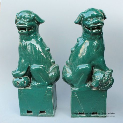 RYXZ02_17.5 inch Pair of Ceramic Foo dog,Dark green