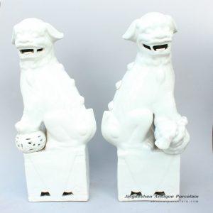 RYXZ03_17.5 inch Pair of Ceramic Foo dog,white