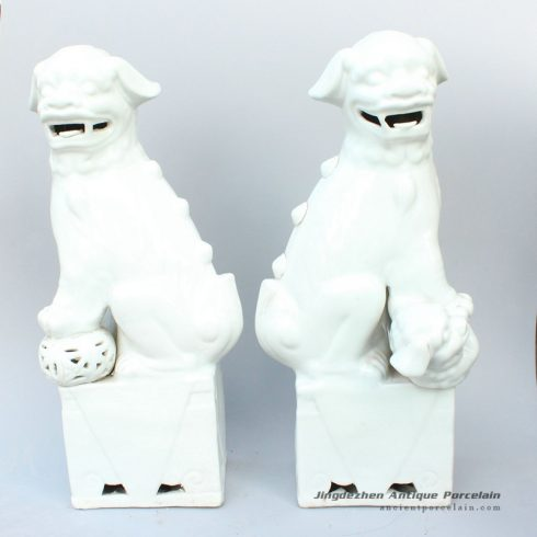 RYXZ03_17.5 inch Pair of Ceramic Foo dog,white