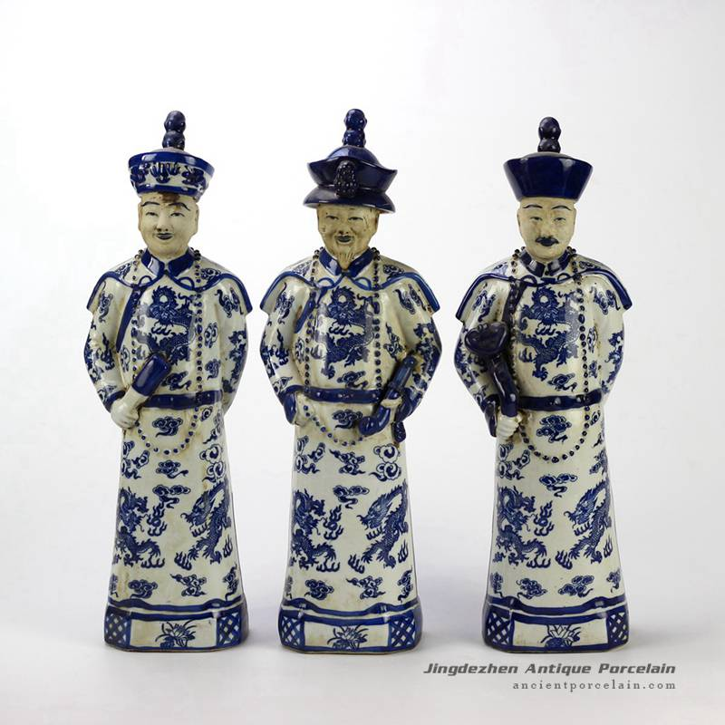 RYXZ04-OLD_17 inch Set of 3 Chinese ceramic blue white standing emperor