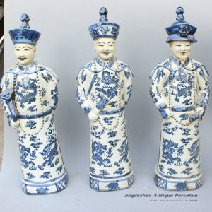 RYXZ04_17 inch Set of 3 Chinese ceramic blue white standing emperor