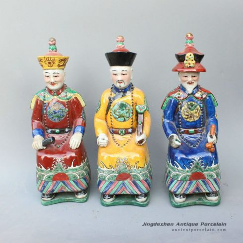 RYXZ05_12.5 inch Set of 3 ceramic seated Chinese emperor