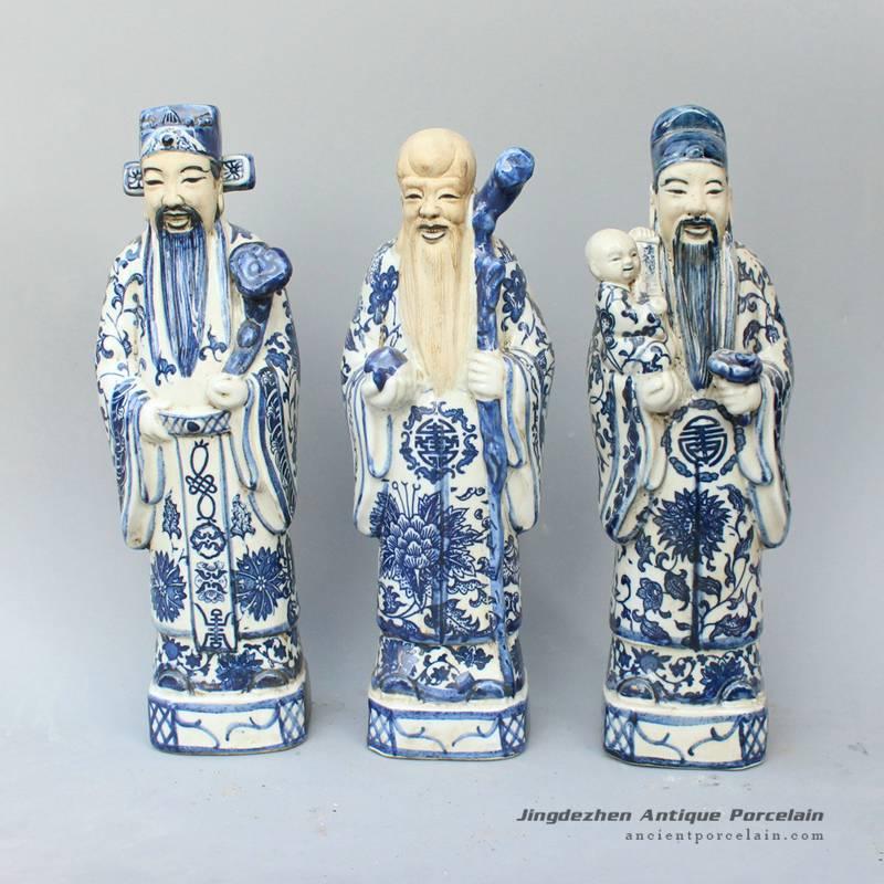 RYXZ06_13.4 inch Set of 3 ceramic blue and white Chinese Fukurokuju stars