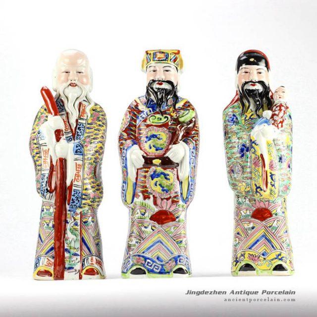 RYXZ07_15.7″ Set of 3 ceramic famille rose Chinese Fukurokuju stars