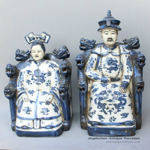 RYXZ08_15 inch Pair of ceramic blue white figurine Chinese King and Queen