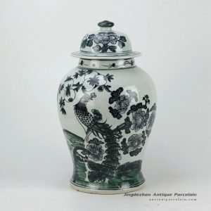 RZFI05-BLACK_Hand paint phoenix pattern black ceramic ginger jar