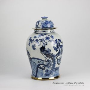 RZFI05_Gold plated line hand paint floral bird pattern blue and white ceramic ginger jar furniture