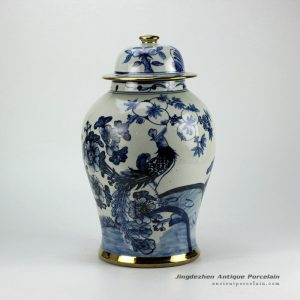 RZFI05-gold_Gold plated line hand paint floral bird pattern blue and white ceramic ginger jar furniture