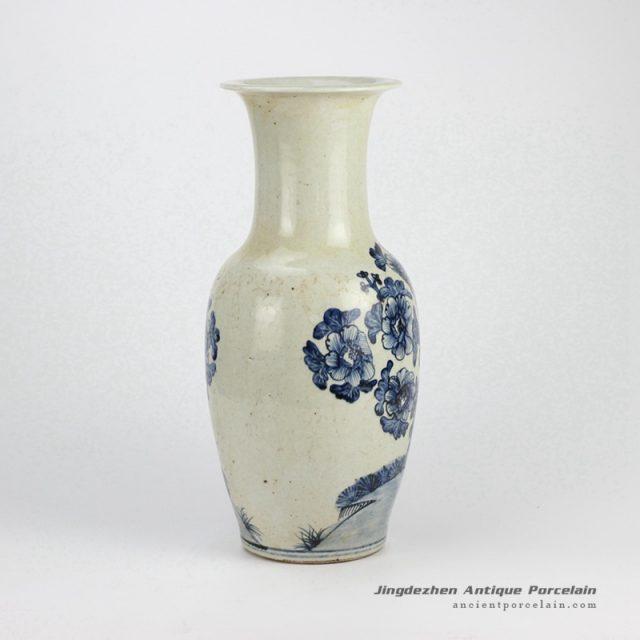 Rzfi06 Brough Clay Hand Paint Blue And White Vintage Porcelain Vase