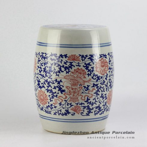RYSP06-A_ red lotus mark blue and white ceramic barrel stool