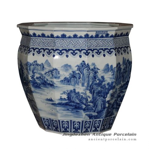 RYUZ05_Chinese Blue White Ceramic Planter