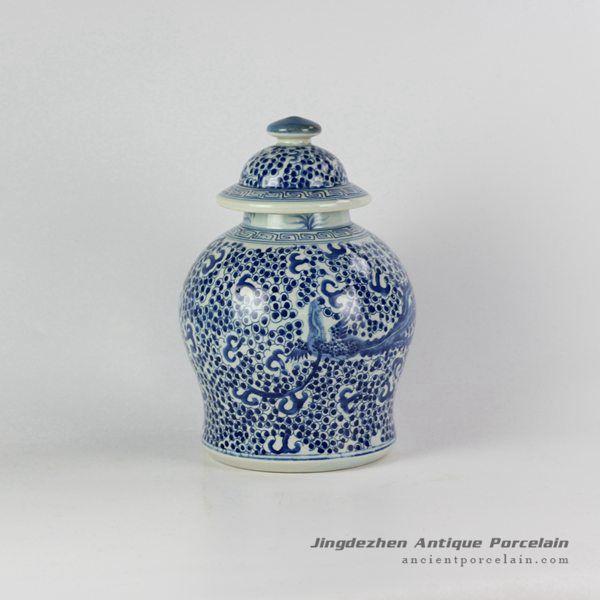 RYVM15-B_Asian mysterious historical free hand drawing skill phoenix pattern ceramic decorative jar
