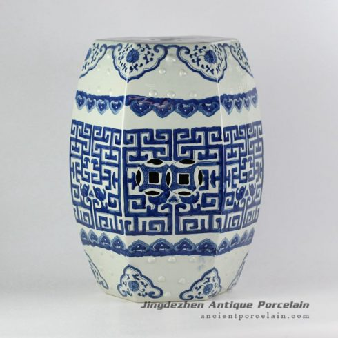 RYVM20_18.8″ Chinese antiques Blue and White Hand painted Stool