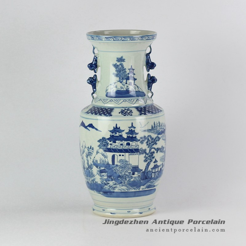RYVM27_Antique China pavilion pattern collectible value centerpiece porcelain vase