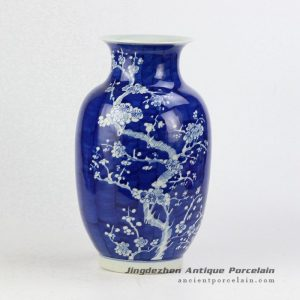 RYWG12_Hand paint winter sweet pattern wax gourd shape elegant blue white ceramic vase