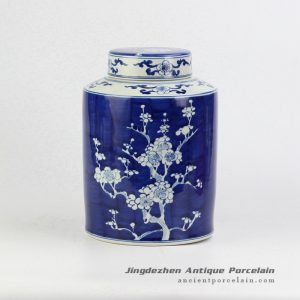RYWG15_Blue and white flat lid winter sweet pattern china canister jar