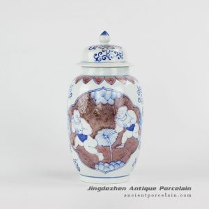 RYXN30_Happy children pattern hand painting red and blue color elegant ceramic ginger jar