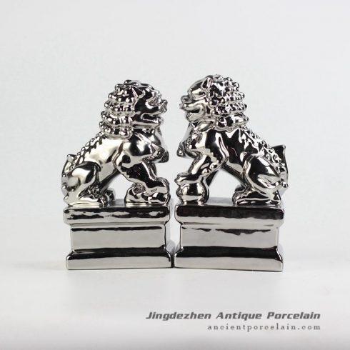 RYXP21-L_Plain color Chinese style ceramic lion statue,silver porcelain Decoration