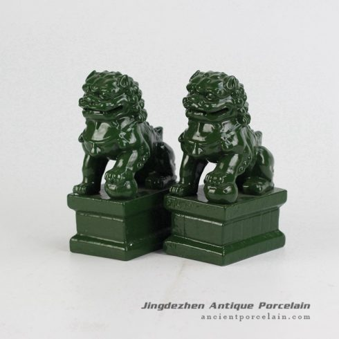 RYXP21-P_Plain color Chinese style ceramic lion statue,green porcelian statue