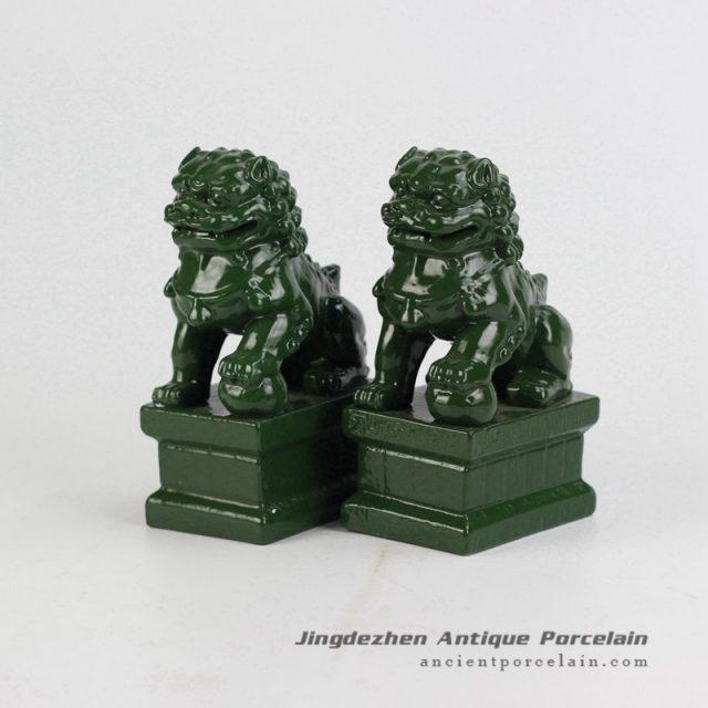 RYXP21-P_Plain color Chinese style ceramic lion statue,green porcelian statue