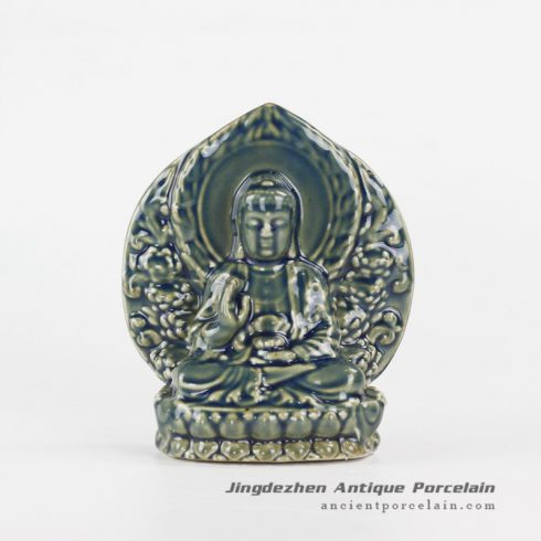 RYXP36_Sitting on lotus Buddha ceramic sculpture