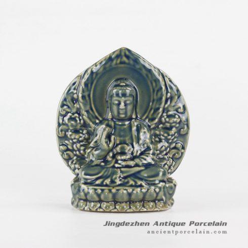 RYXP36_Sitting on lotus Buddha ceramic sculpture