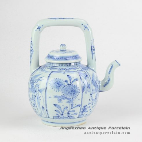 RYZB04_light blue color plants and ancient chinese pattern ceramic tea pot with loop handle