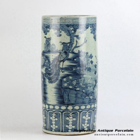 RYZK11_blue and white hand drawing peony flower pattern ceramic umbrella stand