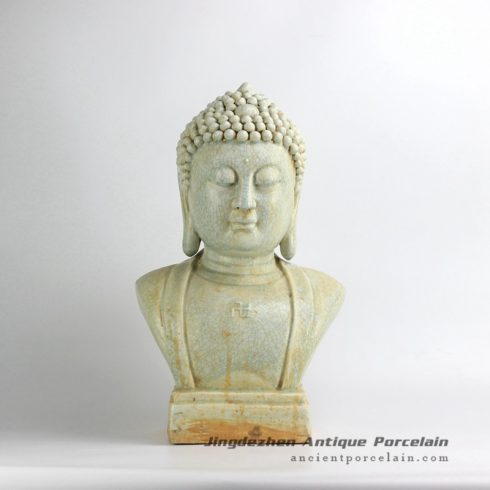 RZEI09_crackle glaze ceramic buddha half length portrait statue