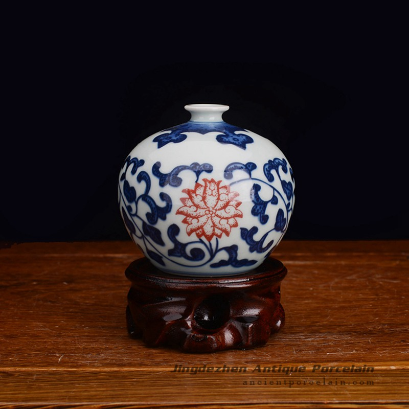 Rzev02 Ftiny Fancy Hand Painted Floral Ceramic Display Vase