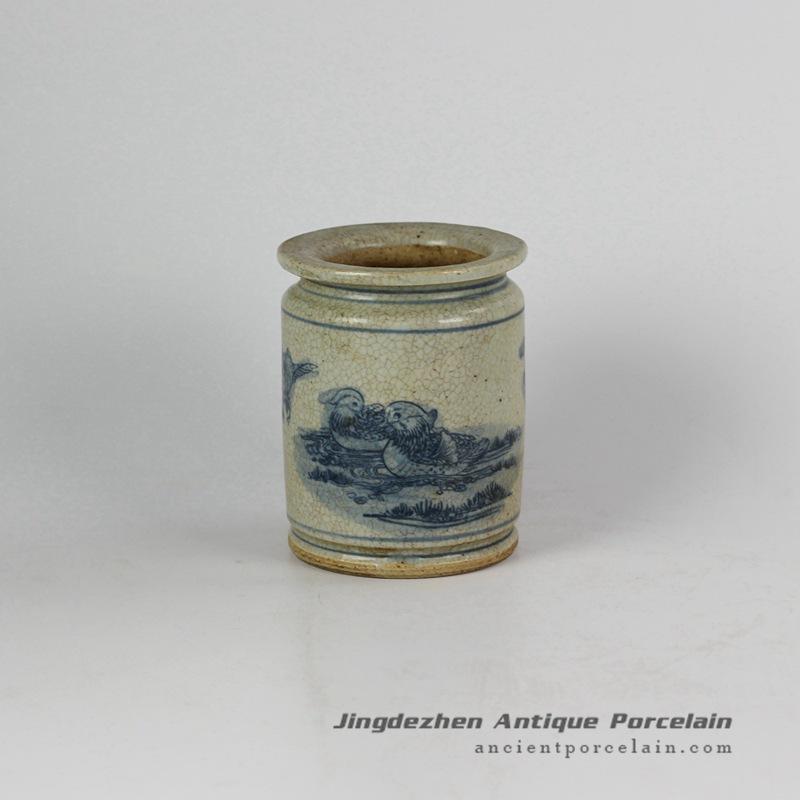 RZFB07_Hand paint mandarin duck crackle style retro ceramic vase