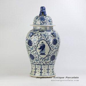 RZFH08_vintage feel floral pattern lion knob cap ceramic ginger jar