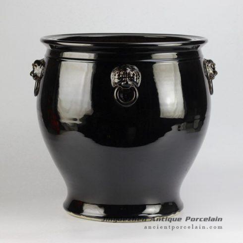 RZFH10_Lion becket solid color black china large vat