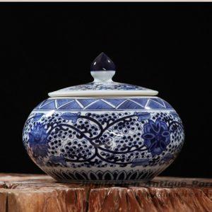 RZFQ08_ round belly art craft floral under glaze blue porcelain cookie jar
