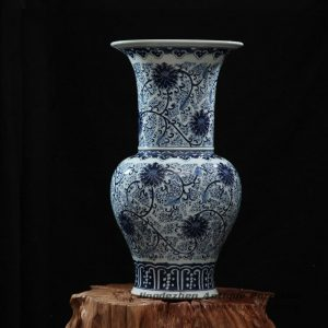 RZFQ18_Blue and white hand paint flower pattern big mouth ceramic vase cheap