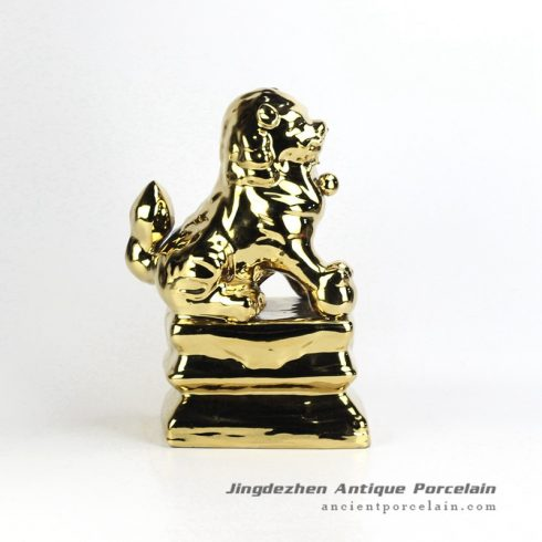 RZGA01-E_Golden lion ceramic doll figurine book end
