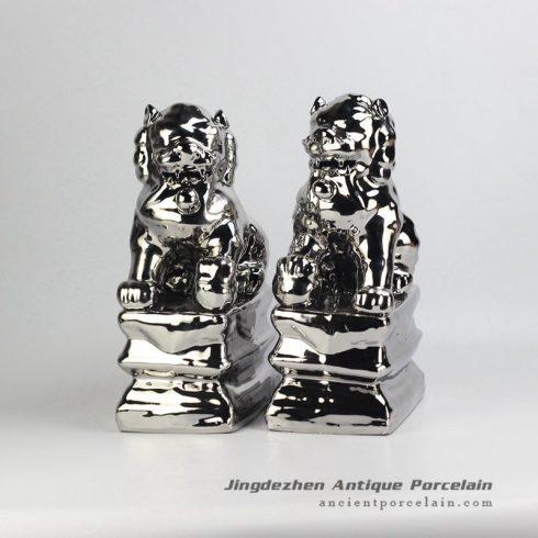 RZGA01-F_Silver lion ceramic doll figurine book end